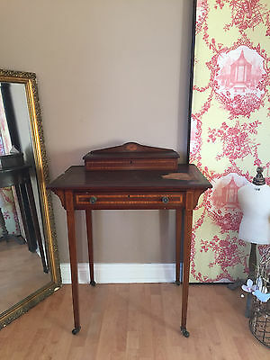 Antique Ladies Writing Table Inlaid Desk with Drawer & Lidded Top REFURB PROJECT