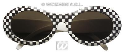 Oval 60's Mod Checked Glasses Monochrome Sun Fancy 50's Cats eye Jackie O 60's
