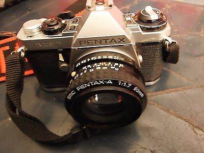 vintage pentax mef camera SMC 1:1 1.7  50mm lens with flash and shoulder strap