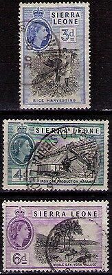 SIERRA LEONE ~ 1956 QEII Selection :- 3d; 4d; 6d. sg#214/216. Very Fine USED