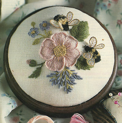 'Wild Rose and Bumblebees- Stumpwork and Crewel Embroidery kit