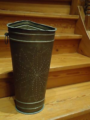 Antique Vintage Hand Tooled Brass Umbrella Stand Or Trash Can/trash Box