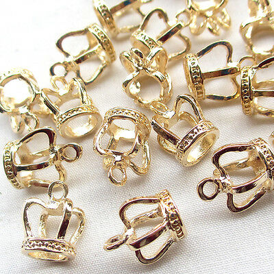 20/100PCS 3D Gold Alloy Crown Charm Pendant Jewelry Finding Lots
