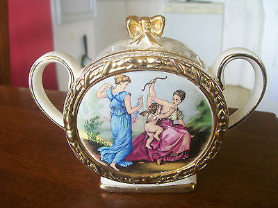 Immaculate  English  Sadler  Sugar  Bowl  Romantic  Scene
