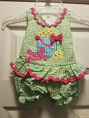 Bonnie Baby girl one piece outfit 0-3 months NEW! pink/green