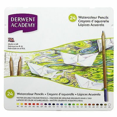 Derwent Academy WATERCOLOUR Assorted Pencils Tin of 24 Brand New Sealed Product