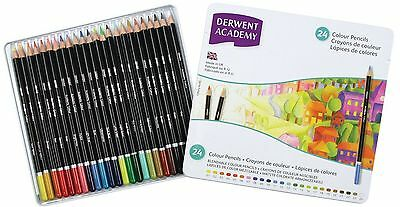 Derwent Academy Colour Pencils 24 Tin Set - Assorted Artist's Colours BRAND NEW