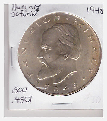 Hungary 1948 Silver Crown 20 Forint Centenary of Revolution