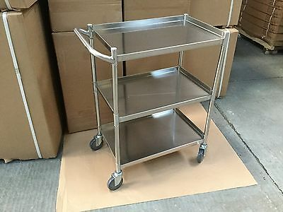 3 Tier Trolley Stainless Steel Work Bench Catering Clearing serving Trolley