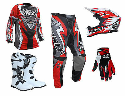 Adult Wulfsport ATTACK Motocross Pant Shirt Glove Helmet Boot Red Set #ATW17