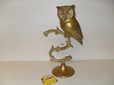 Large Vintage Cast Brass Owl with Glass Amber Eyes