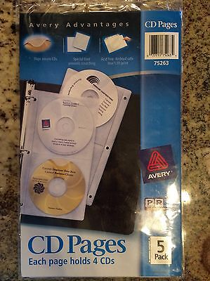 Avery CD/DVD Binder Storage Sheets, 5 sheets, 2 pocket style