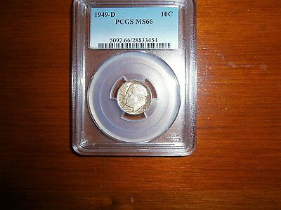 1949 D Roosevelt Dime Pcgs Ms 66 Nice Toned Coin