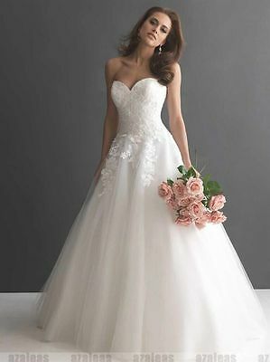 New White/Ivory Organza Bridal Gown Wedding Dress Size 6 8 10 12 14 16