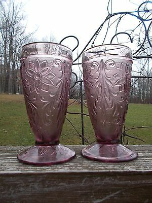 Indiana Glass Tiara Glass Set of 2 Amethyst Colored Glass Ice Tea Footed Glasses