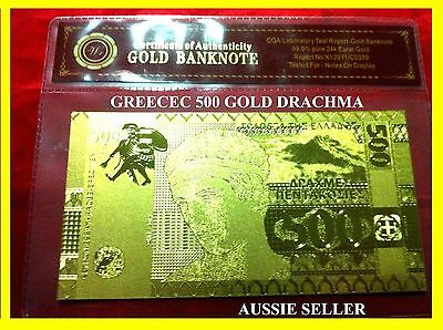 Greece Gold Rare 500 Drachma Banknote 24Kt Gold Bank Note