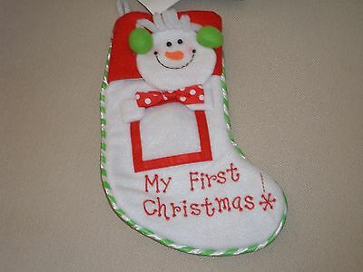 """My First Christmas Felt Embroidered Photo Snowman Christmas Stocking 11"""""""
