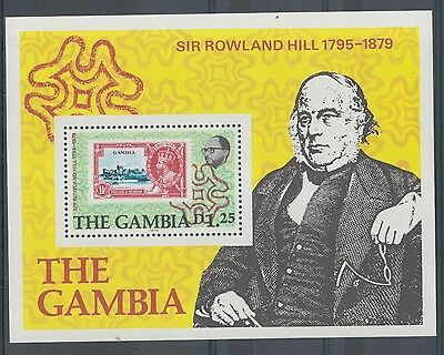XG-K677 GAMBIA IND - Rowland Hill, 1979 Stamp On Stamp MNH Sheet