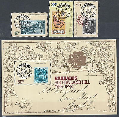 XG-K698 BARBADOS IND - Rowland Hill, 1979 Stamp On Stamp, Set And MNH Sheet