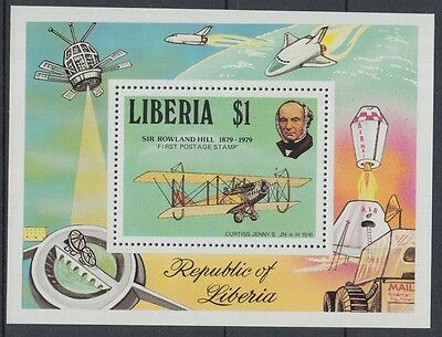 XG-K779 LIBERIA - Rowland Hill, 1979 Aviation, Old Airplanes, Space MNH Sheet