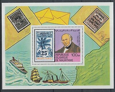 XG-K785 MAURITANIA IND - Rowland Hill, 1979 Stamp On Stamp, Ships MNH Sheet