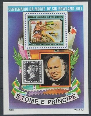 XG-K832 SAO TOME & PRINCIPE - Stamp On Stamp, 1980 Rowland Hill Imperf MNH Sheet