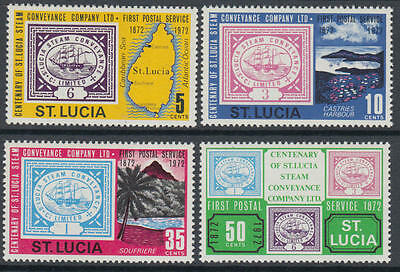 XG-L115 ST LUCIA IND - Stamp On Stamp, 1972 Ships Steam Conveyance Cent. MNH Set