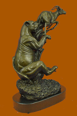Art Deco Cougar Attacking Baby Gazelle Bronze Sculpture Marble Base Figurine DB