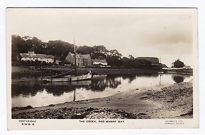 P3258 Original old RP postcard of The Creek, Red Wharf Bay, Anglesey