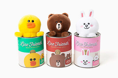 LINE Friends Tin Can Doll 3 Types Character Plush Toys Stuffed Animals Deco Acc