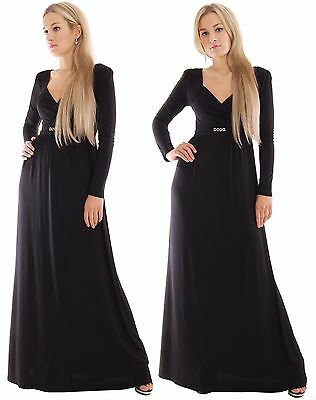 Long Empire Casual Day Evening Maxi Dress Long Sleeve Maternity Black By MontyQ