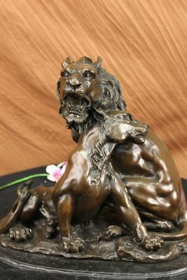Big cats lions pair bronze animal sculpture Lion & Lioness figures repro art
