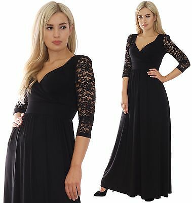 Long Evening Party Maxi Dress 3/4 Lace Sleeve Maternity Empire Black By MontyQ