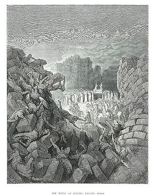 """The Walls of Jericho Falling Down - Wood Eng. By Jonnard after G. Dore -11""""x14"""""""