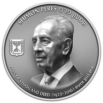 Official 2017 Shimon Peres - 2 oz. Pure Silver Medals Gift Commemorative