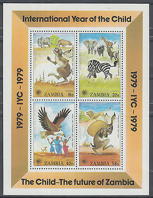 XG-K426 ZAMBIA - Fairytales, 1979 Intl. Year Of The Child Wild Animals MNH Sheet