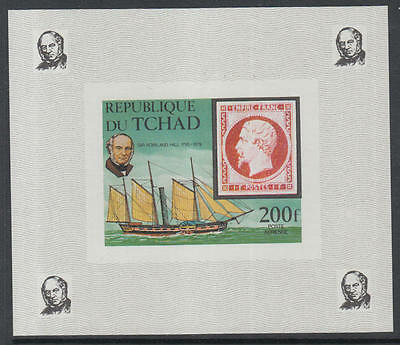 XG-K500 CHAD IND - Rowland Hill, 1979 SOS, Ships, 200F Imperf. MNH Sheet