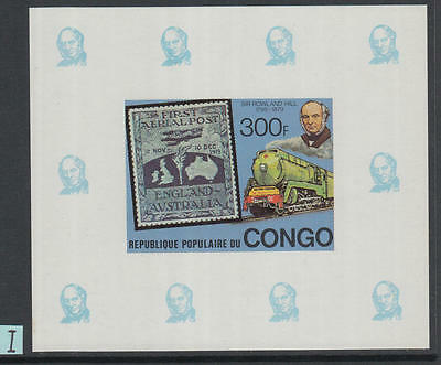 XG-K537 CONGO BRAZZAVILLE - Rowland Hill, 1979 SOS, Trains 300F Imperf MNH Sheet