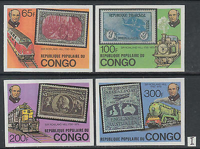 XG-K578 CONGO BRAZZAVILLE - Rowland Hill, 1979 Trains, SOS, Imperf MNH Set