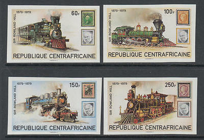 XG-K582 CENTRAL AFRICAN - Rowland Hill, 1979 Stamp On Stamp, Trains, Imp MNH Set