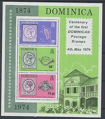 XG-K598 DOMINICA IND - Stamp On Stamp, 1974 Centenary Of 1St MNH Sheet