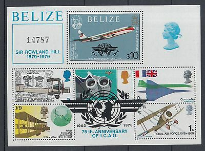 XG-K607 BELIZE - Rowland Hill, 1979 Aviation, Icao 75Th Anniversary MNH Sheet