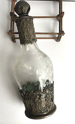 Antique Victorian 800 Silver and Etched Crystal Perfume Bottle Germany