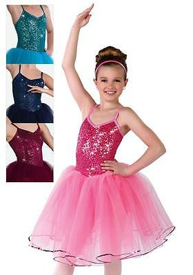 Dance Costume Small Adult Navy Blue Sequin Ballet Tutu Pointe Solo Competition