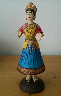 Articulated Dancing Girl Folk Art Paper Mache Plaster. Moves when touched. India