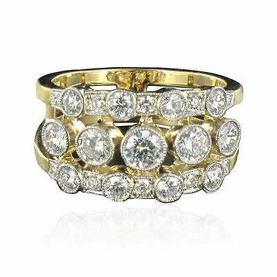 SUPERBE Bague bandeau diamants Or jaune 18K  Platine Contemporain Ring