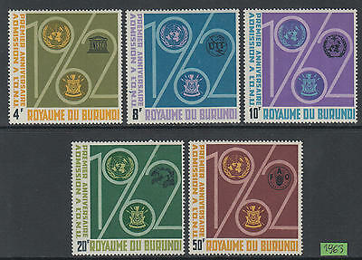 XG-M666 BURUNDI - United Nations, 1963 Admission 1St Anniversary MNH Set