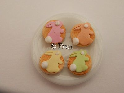 Dolls house food: Plate of Easter bunny cookies   -By Fran