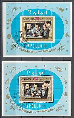 XG-M796 YEMEN - Space, 1969 Apollo 11, Perf. And Imperf. Used CTO Sheets
