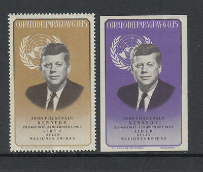 XG-M988 PARAGUAY - Kennedy, 1963 United Nations, Perf. And Imperf. MNH Set